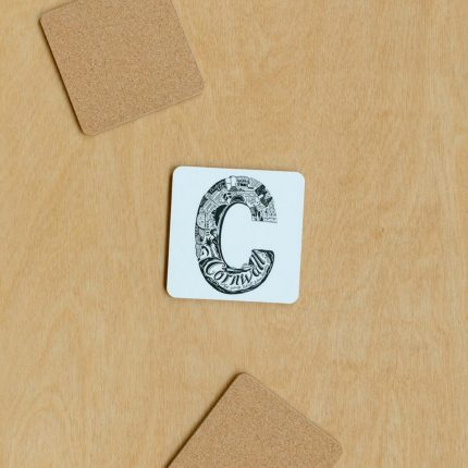 Black and white Cornwall typography coaster by Lucy Loves This