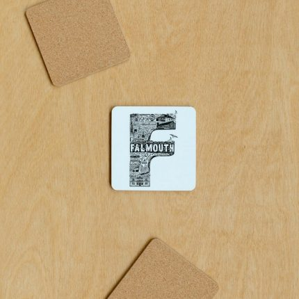 Black and white Falmouth typography coaster by Lucy Loves This