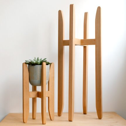 Tall and small beech wood plant stands by Wusabi Furniture