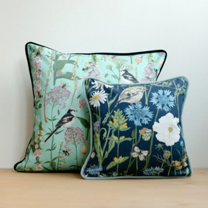 Navy and Turquoise Garden Print Cushions by Particle Press