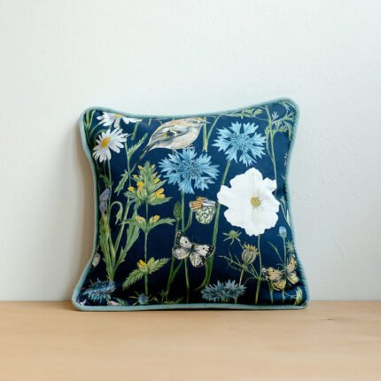 Navy Garden Print Small Cushion by Particle Press