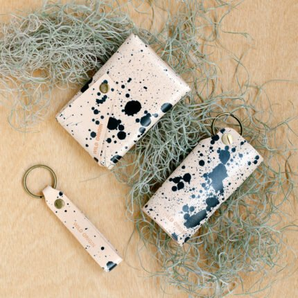 Black splat hand painted leather key holder, wallet and keyring by Wild Origin