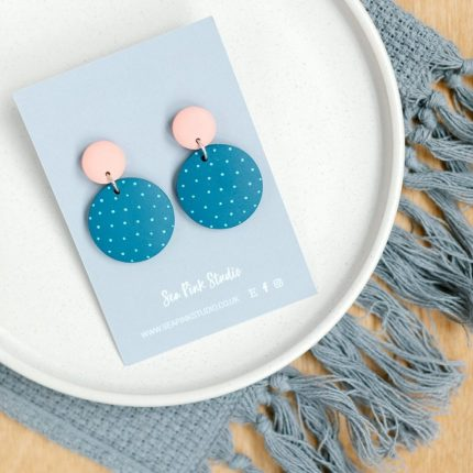 Mevagissy teal with white spots painted wooden bead drop earrings with pale pink stud fittings by Sea Pink Studio