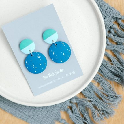 Kynance blue with white spots painted wooden bead drop earrings with green stud fittings by Sea Pink Studio