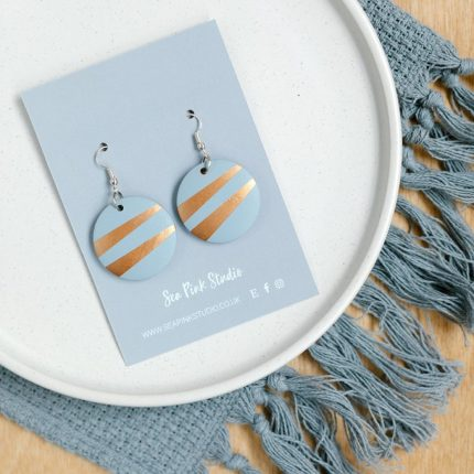 Grey with copper stripe painted wooden bead earrings with hook fittings by Sea Pink Studio