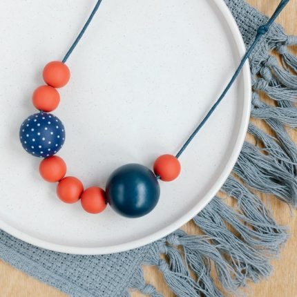 Navy and red painted wooden bead necklace by Sea Pink Studio
