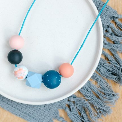 Coral and teal painted wooden bead necklace by Sea Pink Studio