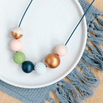 Navy, copper, green and pale pink painted wooden bead necklace by Sea Pink Studio