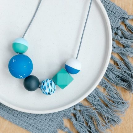 Green and blue painted wooden bead necklace by Sea Pink Studio