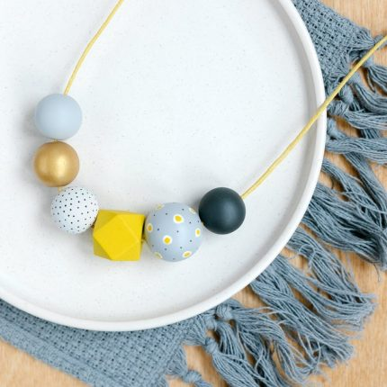 Grey and yellow painted wooden bead necklace by Sea Pink Studio