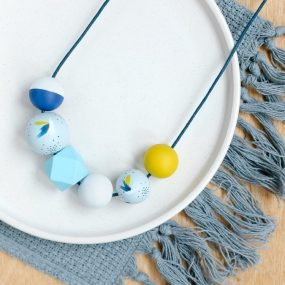 Yellow And Blue Painted Wooden Bead Necklace By Sea Pink Studio