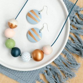 Copper, Navy, Green And Pale Pink Painted Wooden Bead Necklace And Matching Drop Earrings With Hook Fittings By Sea Pink Studio