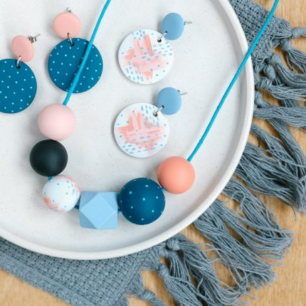 Coral and teal blue painted wooden bead necklace and matching drop earrings with stud fittings by Sea Pink Studio