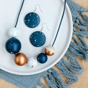 Navy And Copper Painted Wooden Bead Necklace And Matching Navy Blue Hook Earrings By Sea Pink Studio