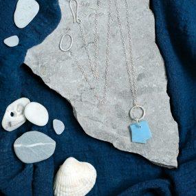 Eco Silver & Blue Beach Plastic Necklace
