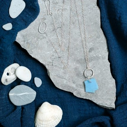 Long length pendant made from eco-silver with beach plastic by Sarah Drew
