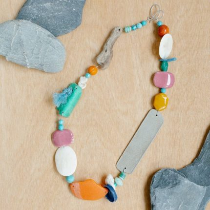 Colourful statement necklace made from beach finds by Sarah Drew