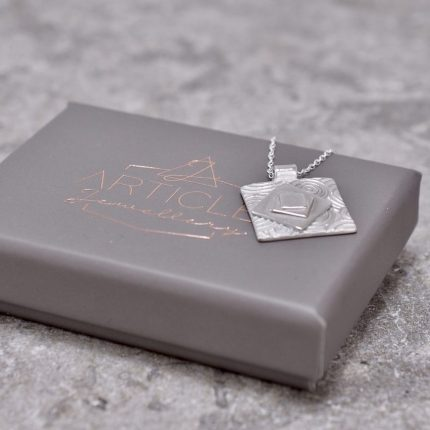 Square layered and textured silver pendant necklace by Article Jewellery with box
