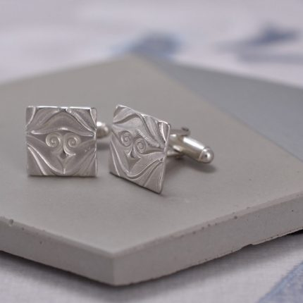 Square silver cufflinks with textured pattern by Article Jewellery
