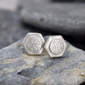 Silver Hexagon Stud Earrings With Circle Detail