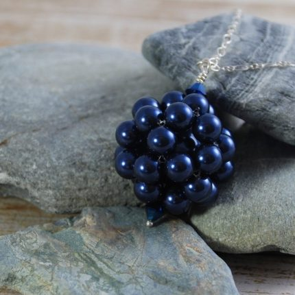 Midnight Blue beaded ball long length pendant made from Swarovski pearls by Article Jewellery