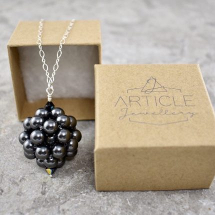 Black beaded ball long length pendant made from Swarovski pearls by Article Jewellery with box