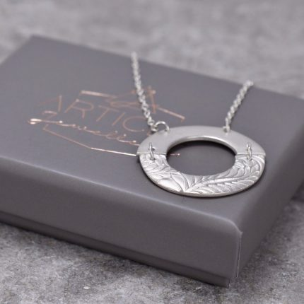Plain and textured half circles joined together silver pendant necklace by Article Jewellery with box