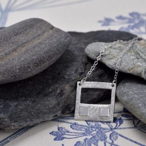 Silver Square Pendant With Rectangle Cut Out
