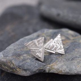 Silver Layered Triangle Stud Earrings