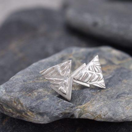 Triangular silver stud earrings by Article Jewellery