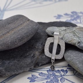 Silver Square Pendant With Crystal