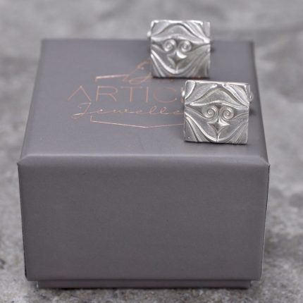 Square silver cufflinks with textured pattern by Article Jewellery with box