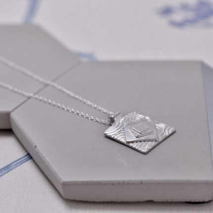 Square layered and textured silver pendant necklace by Article Jewellery