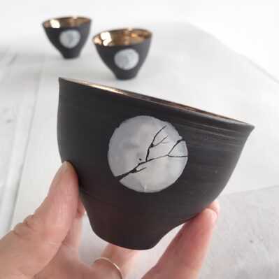 Moon Through Trees Porcelain Bowls Handcrafted By Sarah Cooling