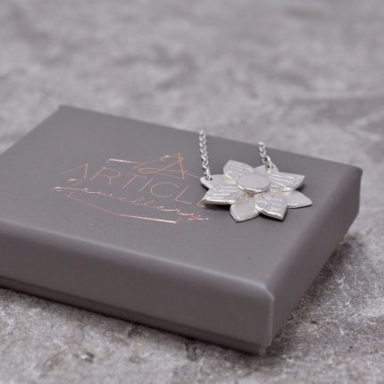 Art Deco flower layered and textured silver pendant necklace by Article Jewellery with box