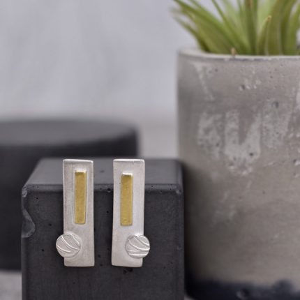 Rectangular silver stud earrings with 9ct gold detail by Article Jewellery
