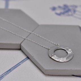 Plain And Textured Half Circles Joined Together Silver Pendant Necklace By Article Jewellery