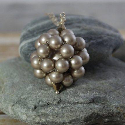 Platinum beaded ball long length pendant made from Swarovski pearls by Article Jewellery