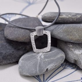 Silver Pendant On Leather Cord – Tapered Square