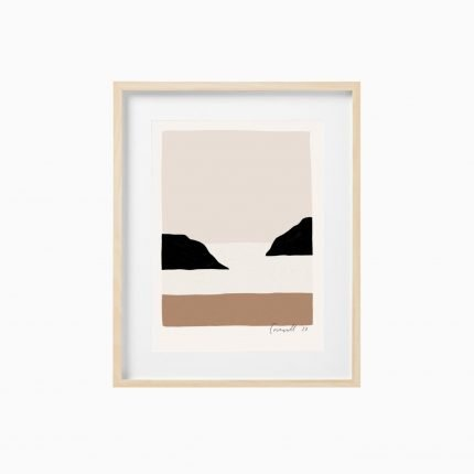 Contemporary blush and black art print of a cove by Scalet Paperie