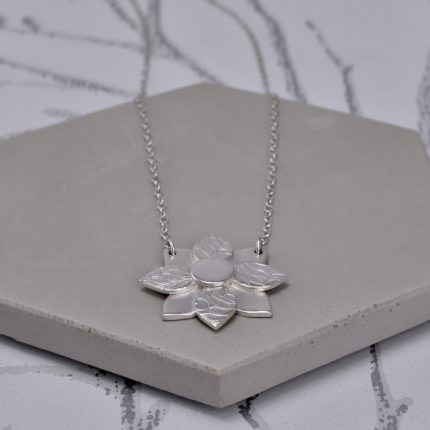 Art Deco flower layered and textured silver pendant necklace by Article Jewellery