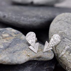 Arrow Shape Textured Silver Stud Earrings By Article Jewellery
