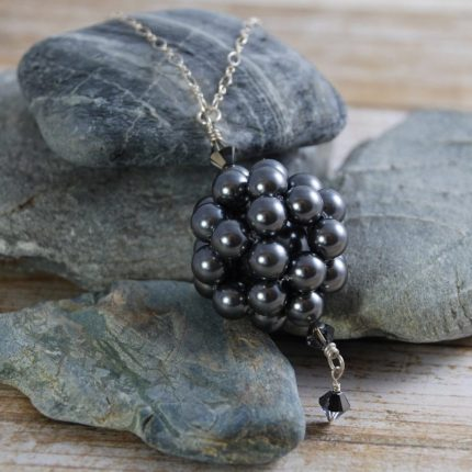 Dark Grey beaded ball long length pendant made from Swarovski pearls by Article Jewellery