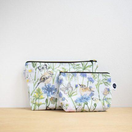 Light Blue Garden Print Make-Up Bag and Washbag by Particle Press