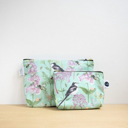 Turquoise Garden Print Make-Up Bag and Washbag by Particle Press