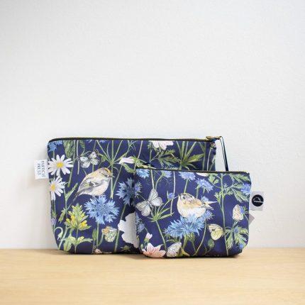 Navy Garden Print Make-Up Bag and Washbag by Particle Press