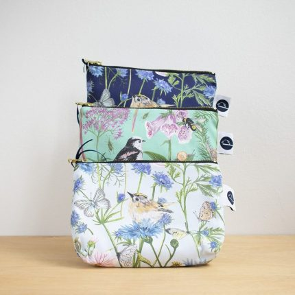 Garden Print Make-Up Bags in three colours by Particle Press