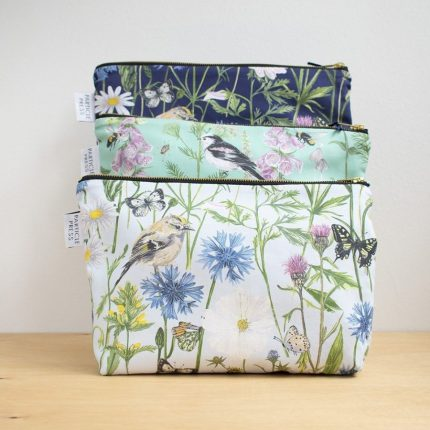 Garden Print Washbags in three colours by Particle Press
