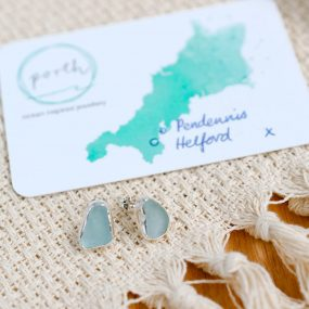 Seaglass Stud Earrings Pale Green – Helford/Pendennis