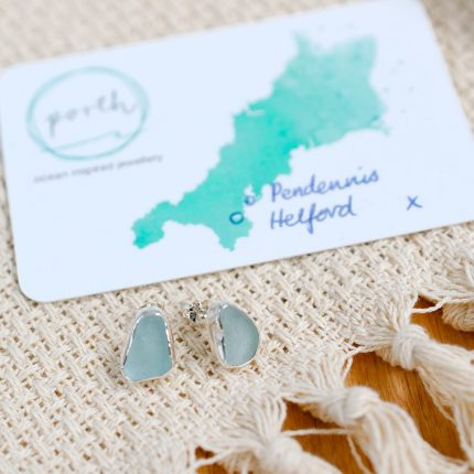 Pair of pale green seaglass and sterling silver stud earrings created with pieces found Pendennis and Helford by Porth Jewellery
